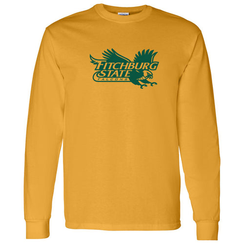 Fitchburg State University Falcons Primary Logo Long Sleeve T Shirt - Gold