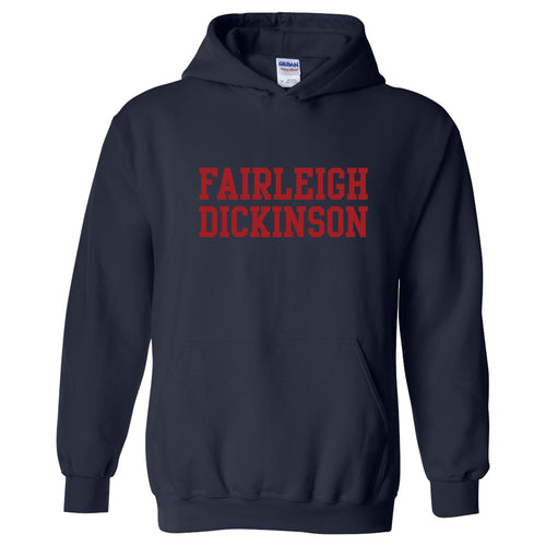 Fairleigh Dickinson University Knights/Devils Basic Block Heavy Cotton Blend Hoodie - Navy