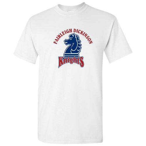 Fairleigh Dickinson University Knights Arch Logo Basic Cotton Short Sleeve T Shirt - White
