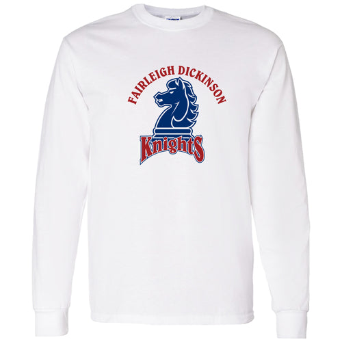 Fairleigh Dickinson University Knights Arch Logo Basic Cotton Long Sleeve T Shirt - White