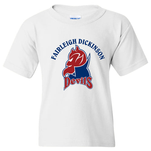 Fairleigh Dickinson University Devils Arch Logo Basic Cotton Youth Short Sleeve T Shirt - White