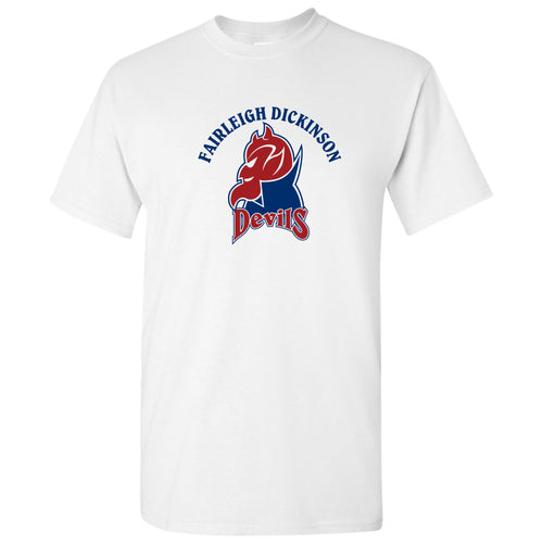 Fairleigh Dickinson University Devils Arch Logo Basic Cotton Short Sleeve T Shirt - White