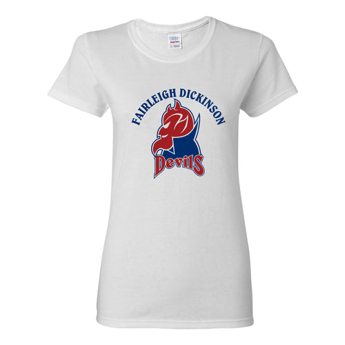 Fairleigh Dickinson University Devils Arch Logo Basic Cotton Women's Short Sleeve T Shirt - White