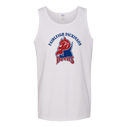 Fairleigh Dickinson University Devils Arch Logo Heavy Cotton Tank Top - White