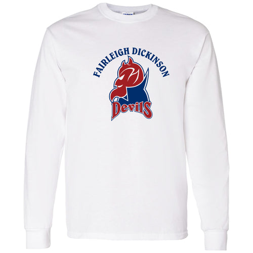 Fairleigh Dickinson University Devils Arch Logo Basic Cotton Long Sleeve T Shirt - White