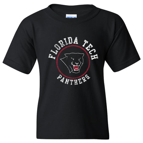 Florida Institute of Technology Panthers Distressed Circle Logo Youth T Shirt - Black