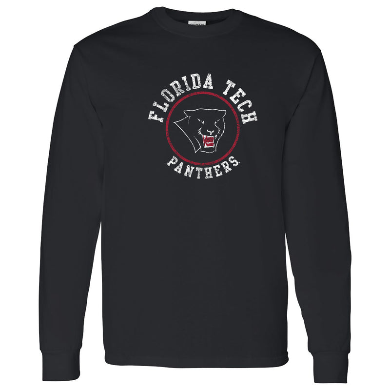 Florida Institute of Technology Panthers Distressed Circle Logo Long Sleeve T Shirt - Black