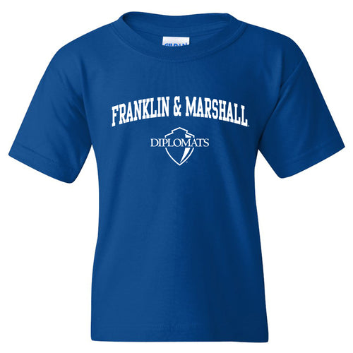 Franklin & Marshall College Diplomats Arch Logo Youth T Shirt - Royal