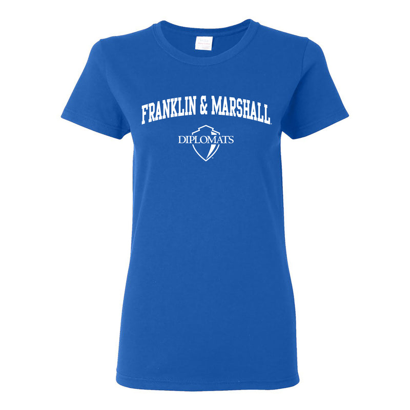 Franklin & Marshall College Diplomats Arch Logo Womens T Shirt - Royal