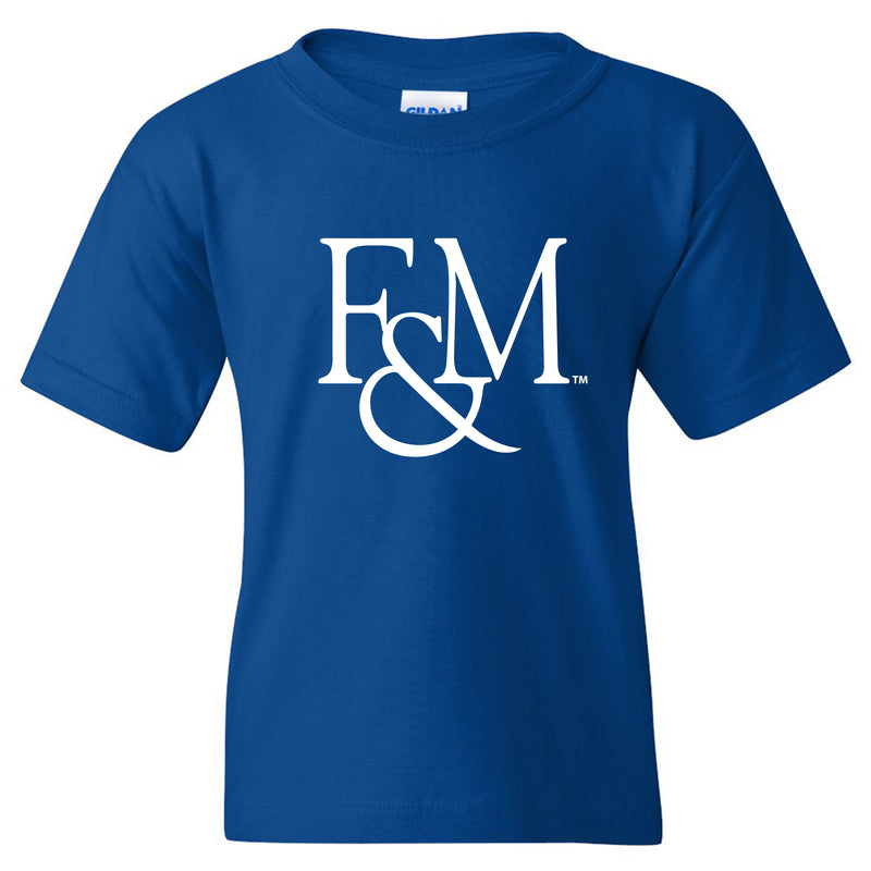 Franklin & Marshall College Diplomats Primary Logo Youth T Shirt - Royal