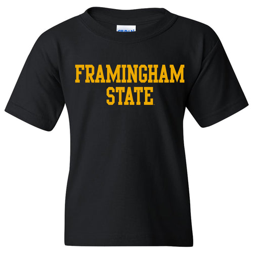 Framingham State University Rams Basic Block Youth Short Sleeve T Shirt - Black