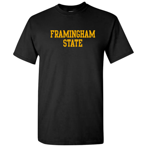 Framingham State University Rams Basic Block Short Sleeve T Shirt - Black