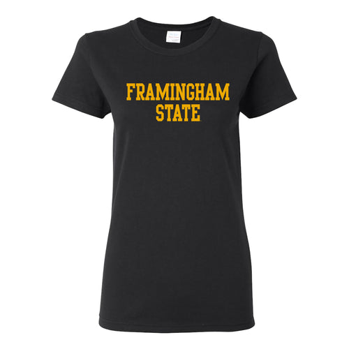 Framingham State University Rams Basic Block Womens Short Sleeve T Shirt - Black
