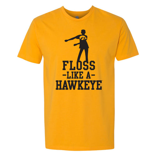 University of Iowa Floss Like a Hawkeye Next Level Short Sleeve T Shirt - Gold
