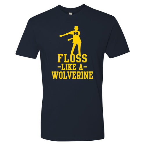 Floss Like a Wolverine University of Michigan Next Level Premium Short Sleeve T Shirt - Midnight Navy