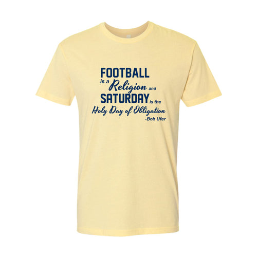 Football is a Religion University of Michigan Next Level Premium Short Sleeve T Shirt - Banana Cream