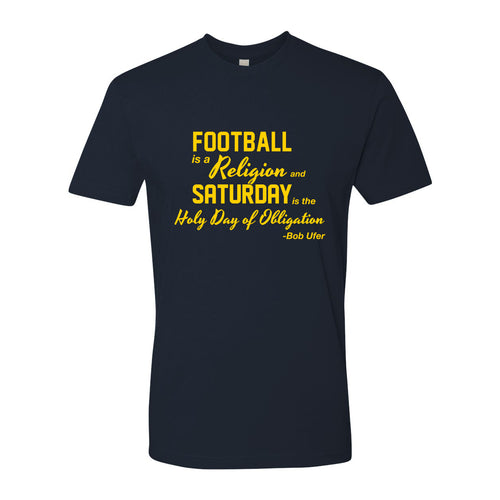Football is a Religion University of Michigan Next Level Premium Short Sleeve T Shirt - Midnight Navy