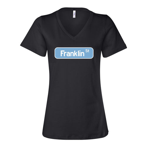 Franklin Street Sign Womens Relaxed Vneck T Shirt - Black
