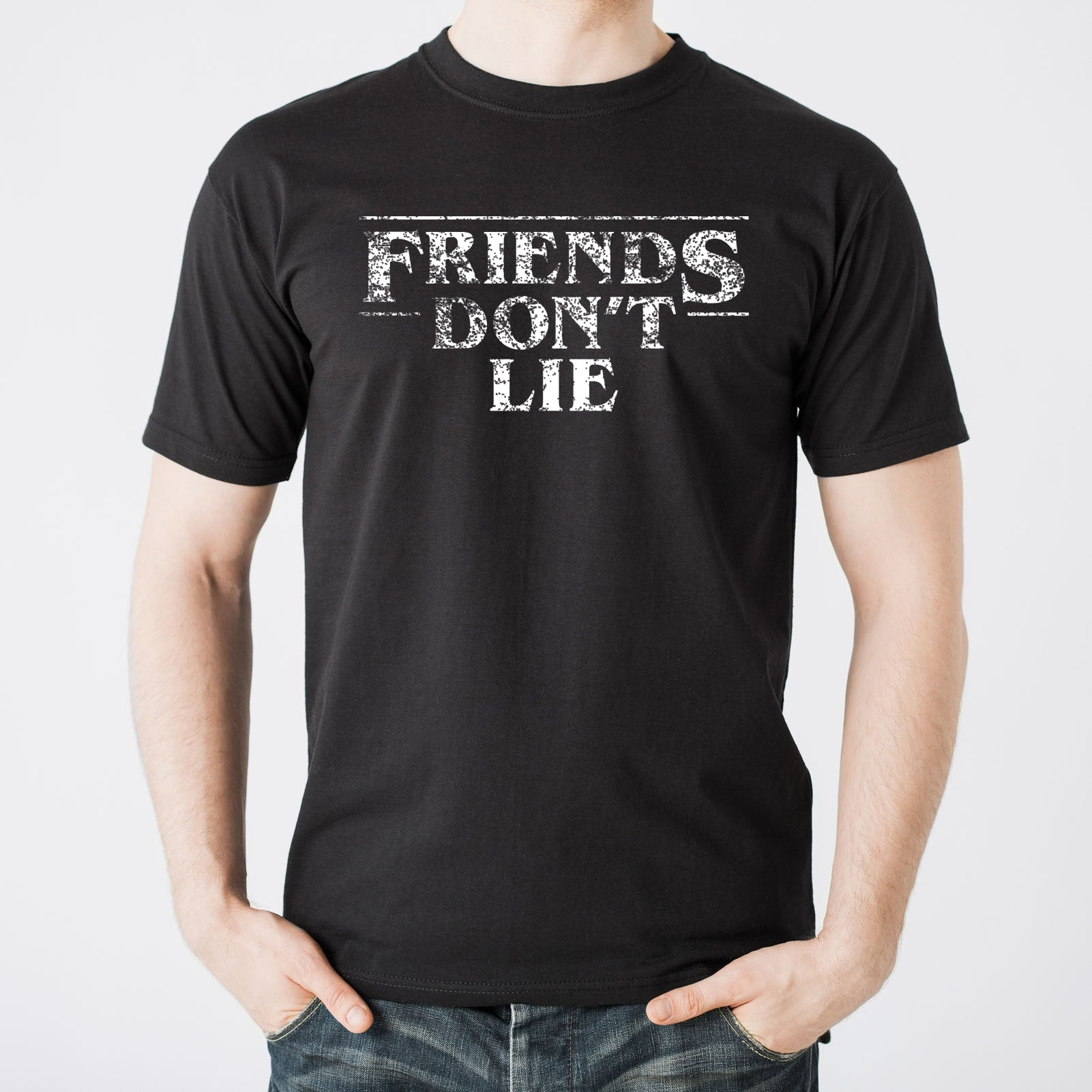 80ee68f3 ... Friends Dont Lie - Funny Stranger Of Things Eleven Graphic T Shirt -  Black ...
