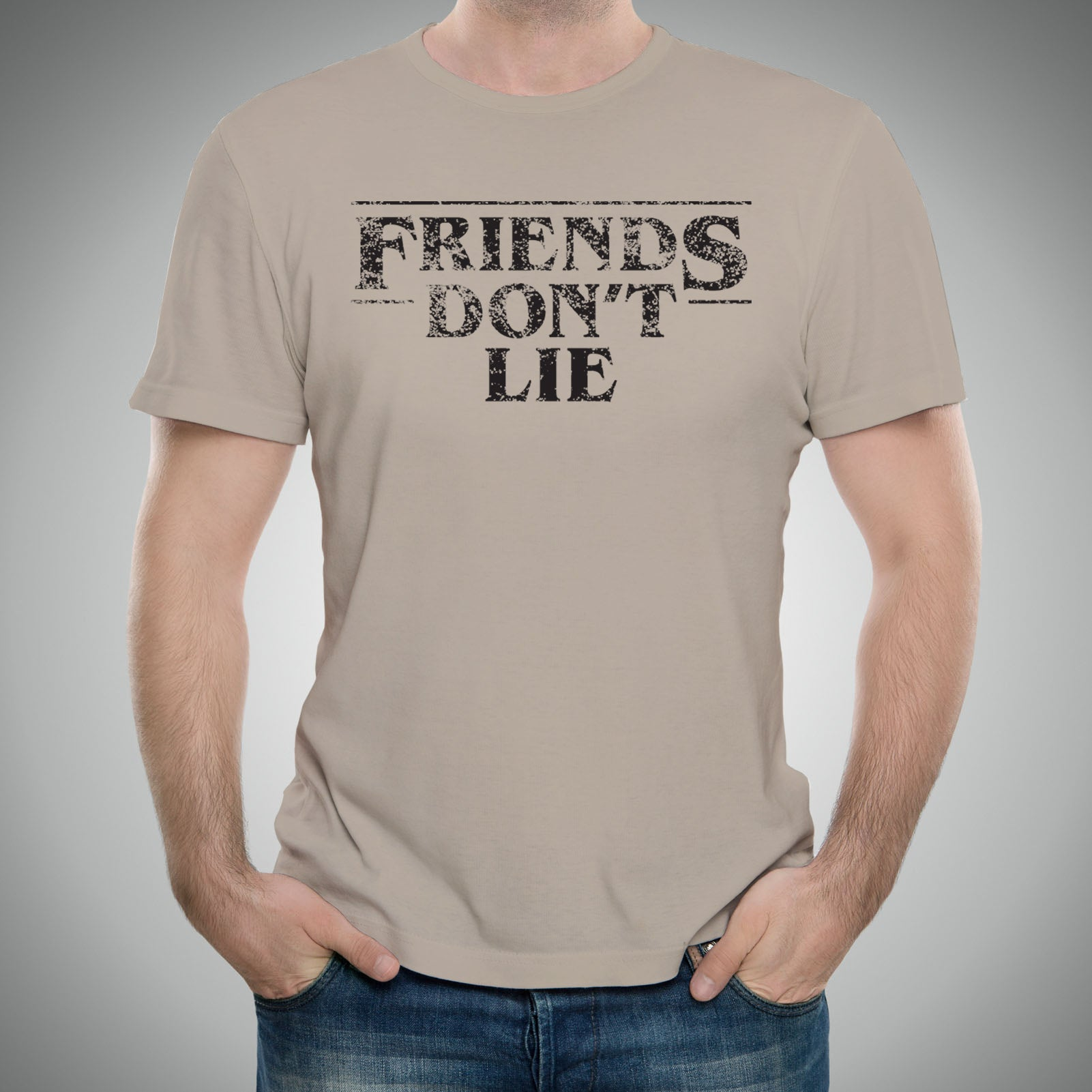 21274830 ... Friends Dont Lie - Funny Stranger Of Things Eleven Graphic T Shirt -  Sand ...