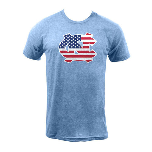 Go Heels Go America Triblend Tee - Athletic Blue