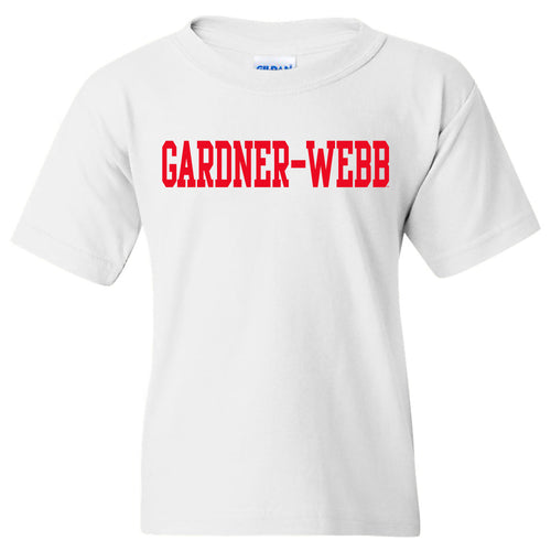 Gardner-Webb University Bulldogs Basic Block Cotton Short Sleeve Youth T Shirt - White