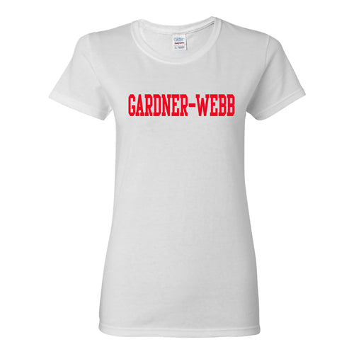 Gardner-Webb University Bulldogs Basic Block Cotton Short Sleeve Womens T Shirt - White