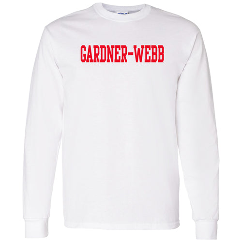 Gardner-Webb University Bulldogs Basic Block Cotton Long Sleeve T Shirt - White