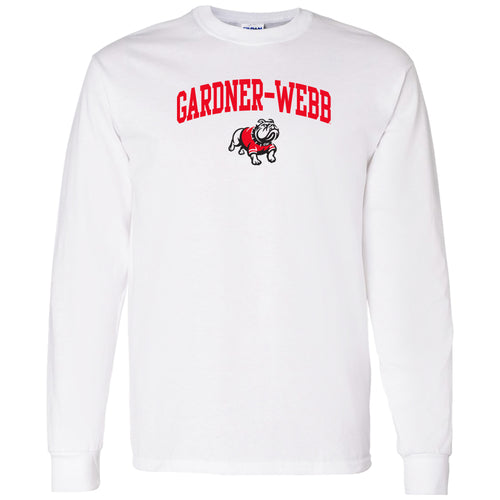 Gardner-Webb University Bulldogs Arch Logo Basic Cotton Long Sleeve T Shirt - White