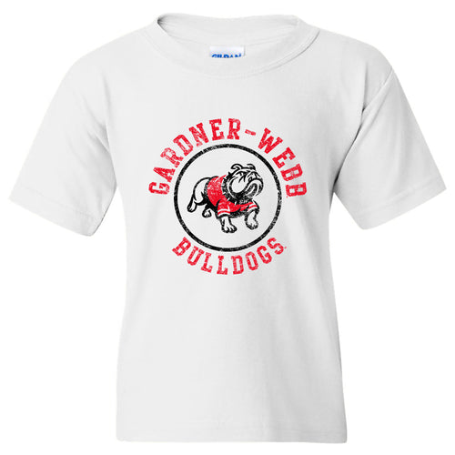 Gardner-Webb University Bulldogs Distressed Circle Logo Basic Cotton Short Sleeve Youth T Shirt - White