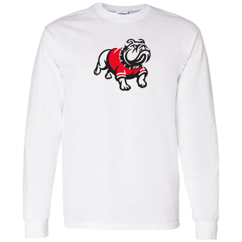 Gardner-Webb University Bulldogs Primary Logo Basic Cotton Long Sleeve T Shirt - White