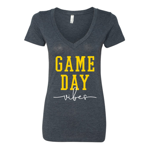 Game Day Vibes Womens Triblend Vneck - Vintage Navy