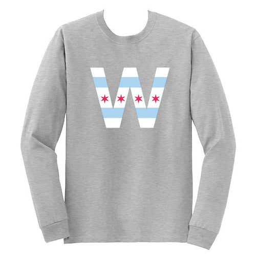 Chicago Flag W Long Sleeve T Shirt - Sport Grey