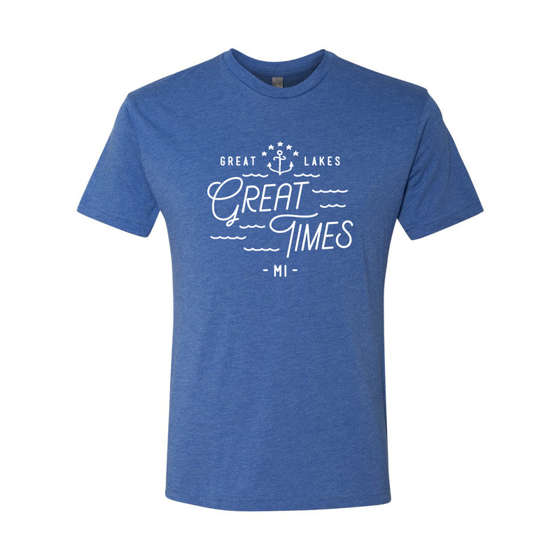 Great Lakes Great Times Michigan Next Level Triblend Short Sleeve T Shirt - Vintage Royal