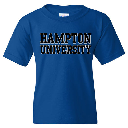 Hampton University Pirates Basic Block Youth Short Sleeve T Shirt - Royal