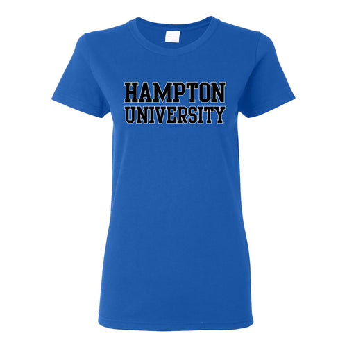 Hampton University Pirates Basic Block Womens Short Sleeve T Shirt - Royal
