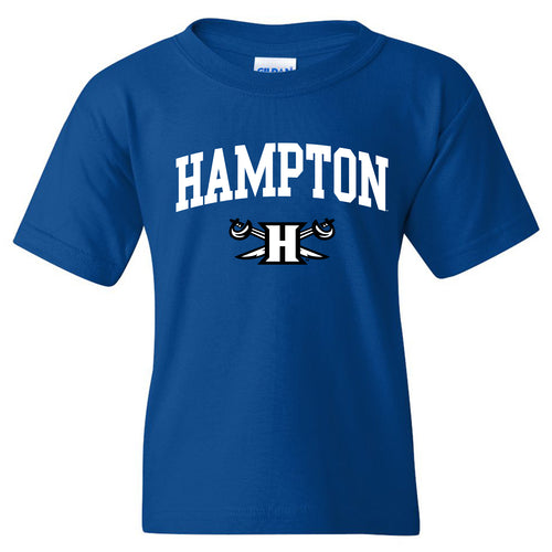 Hampton University Pirates Arch Logo Youth Short Sleeve T Shirt - Royal
