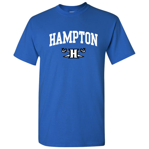 Hampton University Pirates Arch Logo Short Sleeve T-Shirt - Royal