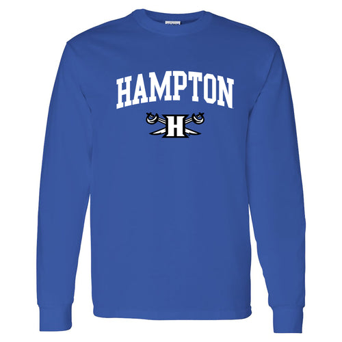 Hampton University Pirates Arch Logo Long Sleeve T-Shirt - Royal