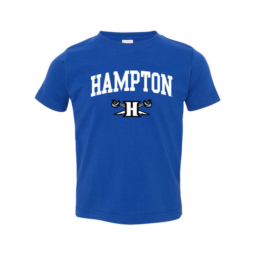 Hampton University Pirates Arch Logo Toddler Short Sleeve T Shirt - Royal