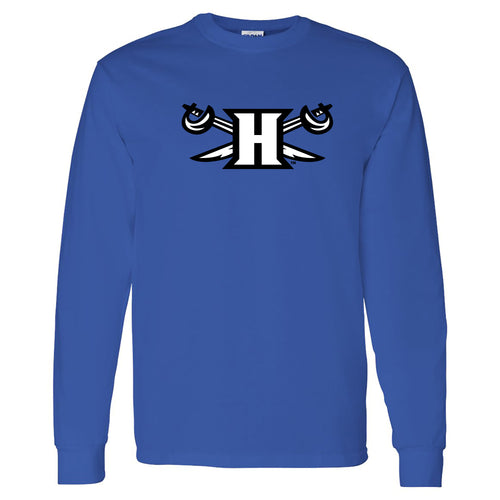 Hampton University Pirates Primary Logo Long Sleeve T-Shirt - Royal