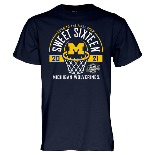 Michigan Wolverines Basketball 2021 Sweet 16 T-Shirt  - Navy