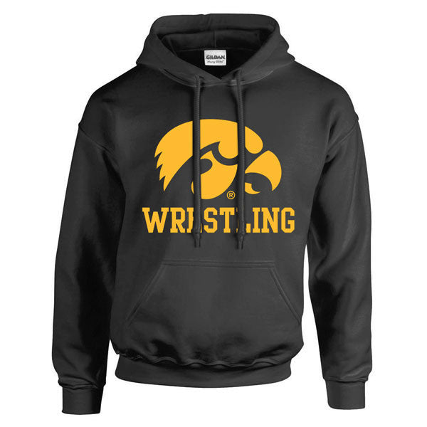 University of Iowas Hawkeye Logo Block Wrestling Heavy Blend Hoodie - Black