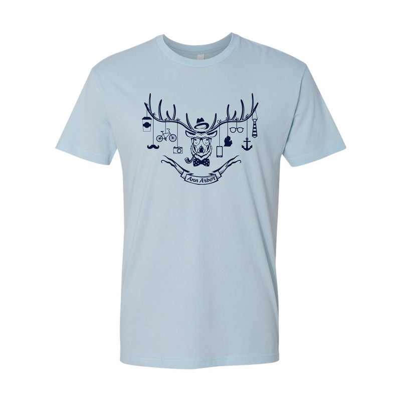 Ann Arbor Hipster Deer Tee - Light Blue