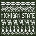 Michigan State University Spartans Ugly Sweater Short Sleeve T-Shirt - Forest