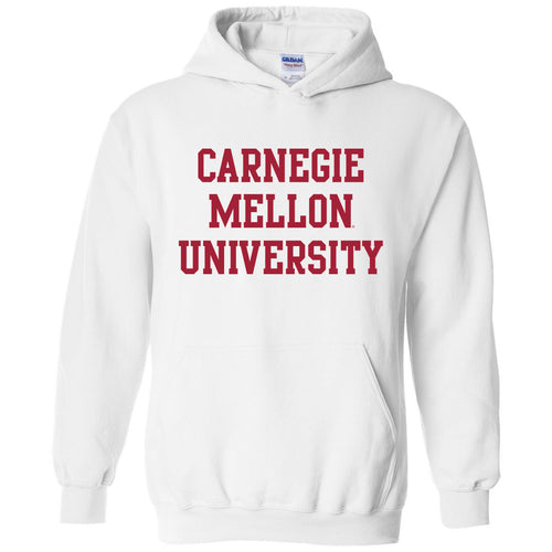 Carnegie Mellon University Tartans Basic Block Hooded Sweatshirt - White