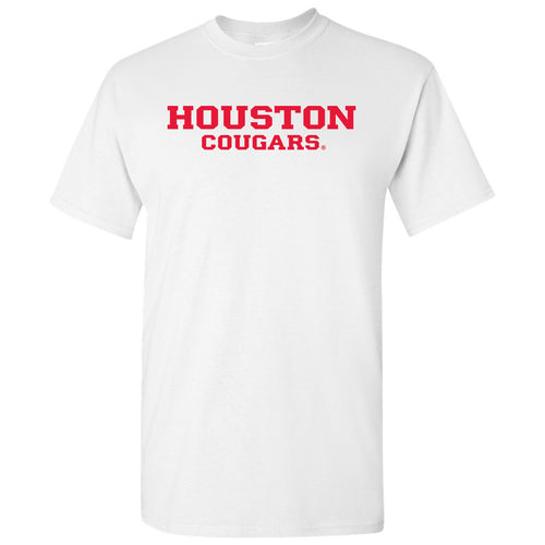University of Houston Cougars Basic Block Short Sleeve T Shirt - White