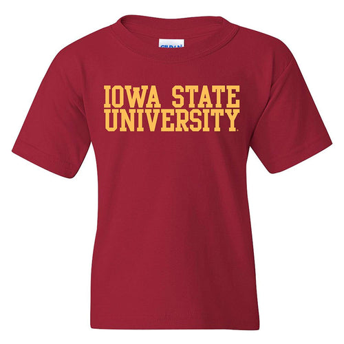 Iowa State University Cyclones Basic Block Cotton Youth Short Sleeve T Shirt - Cardinal