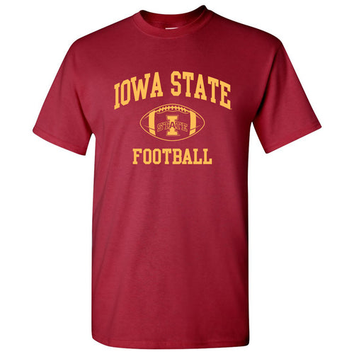 Iowa State University Cyclones Classic Football Arch Short Sleeve T Shirt - Cardinal