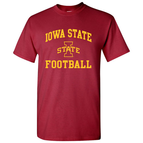 Iowa State University Cyclones Arch Logo Football Short Sleeve T Shirt - Cardinal